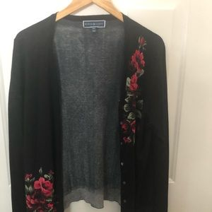 Karen Scott Rose sweater cardigan
